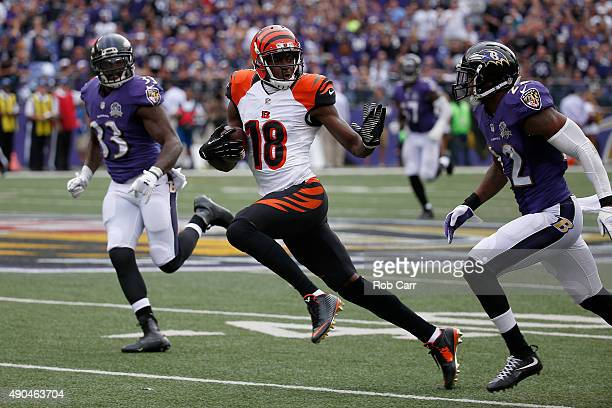 J Green of the Cincinnati Bengals runs for a touchdown after catching a pass against the Baltimore Ravens at MT Bank Stadium on September 27 2015 in...