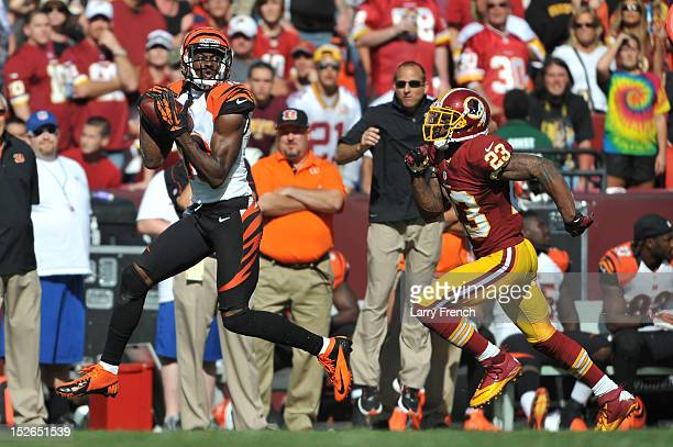 J Green of the Cincinnati Bengals runs the ball after making a catch against the Washington Redskins at FedExField on September 23 2012 in Landover...