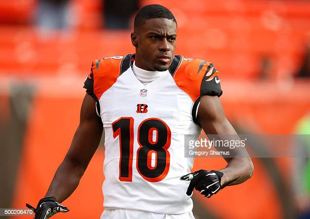 J Green of the Cincinnati Bengals warms up prior to playing the Cleveland Browns at FirstEnergy Stadium on December 6 2015 in Cleveland Ohio