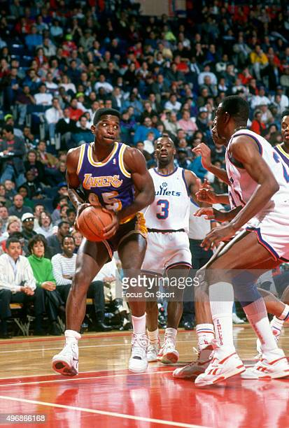 C Green of the Los Angeles Lakers in action against the Washington Bullets during an NBA basketball game circa 1991 at the Capital Centre in Landover...