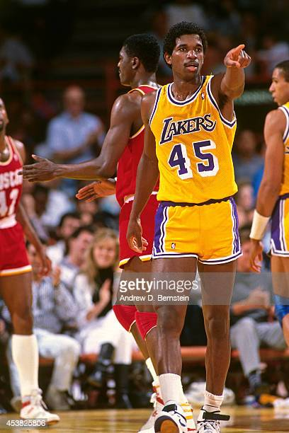 C Green of the Los Angeles Lakers points against the Houston Rockets circa 1991 at the Great Western Forum in Inglewood California NOTE TO USER User...