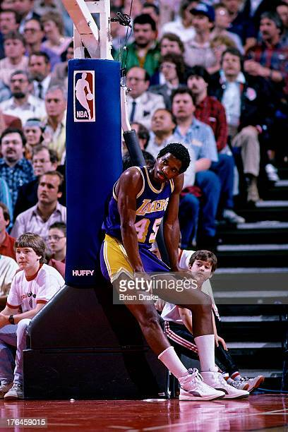 C Green of the Los Angeles Lakers rests during a game against the Portland Trail Blazers played circa 1987 at the Veterans Memorial Coliseum in...