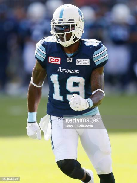 J Green of the Toronto Argonauts runs a pass pattern against the Hamilton TigerCats during a CFL game at BMO Field on June 25 2017 in Toronto Ontario...