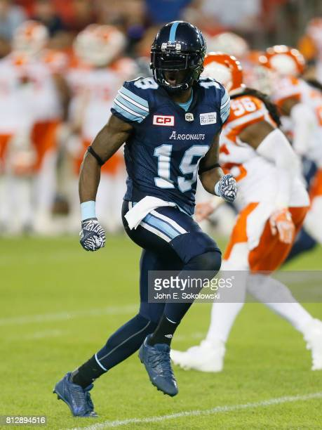 J Green of the Toronto Argonauts runs a pass pattern against the BC Lions during a CFL game at BMO field on June 30 2017 in Toronto Ontario Canada BC...