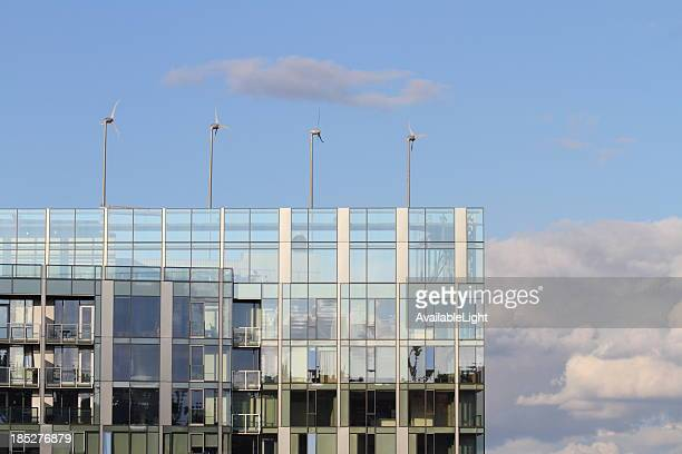 Green Office Building With Wind Turbines