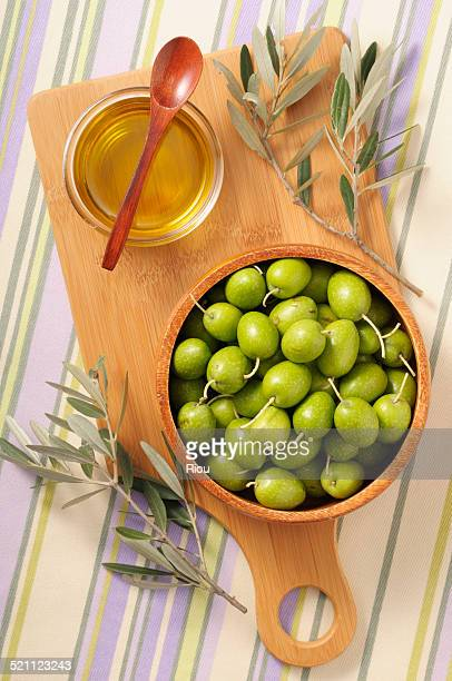 green olive and oil