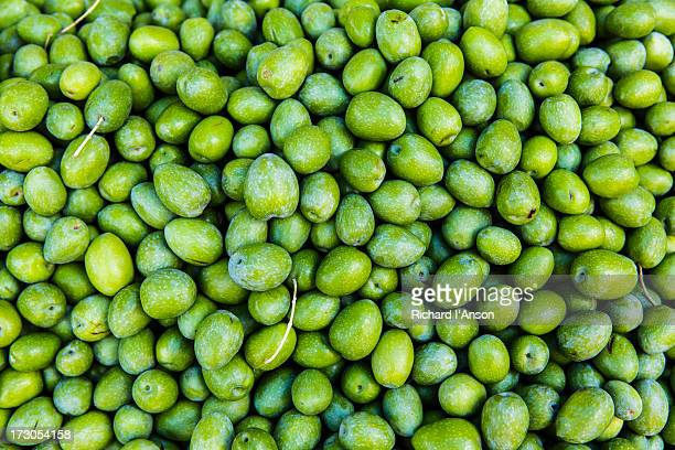 Green olives displayed on stall at Ballaro Market