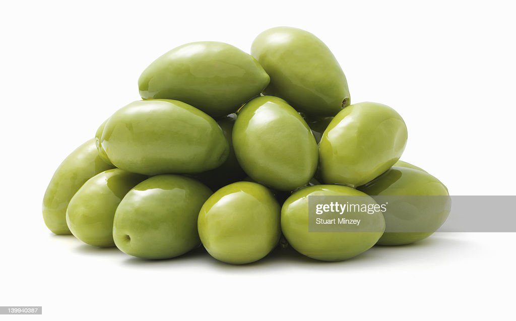 Green olives on a white background : Stock Photo