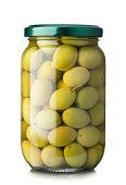 Green olives jar on a white background