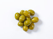 Unpitted brine cured green olives