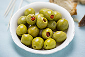 Green olives stuffed red peppers