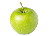 Green whole apple isolated on white background