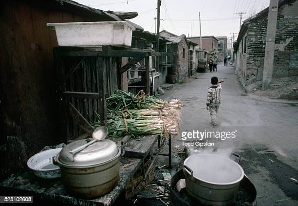 Green Onions Piled Beside a Steaming Pot on a Street