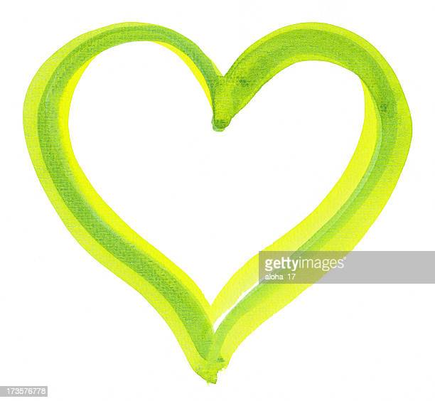 Green painted heart on a white background