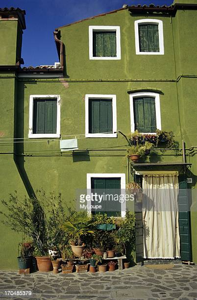 Green Painted House Burano Island near Venice Italy