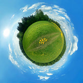 This is a 360 degree view of a green field that I have morphed into a globe.