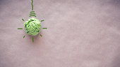 Green paper light bulb, eco energy saving concept