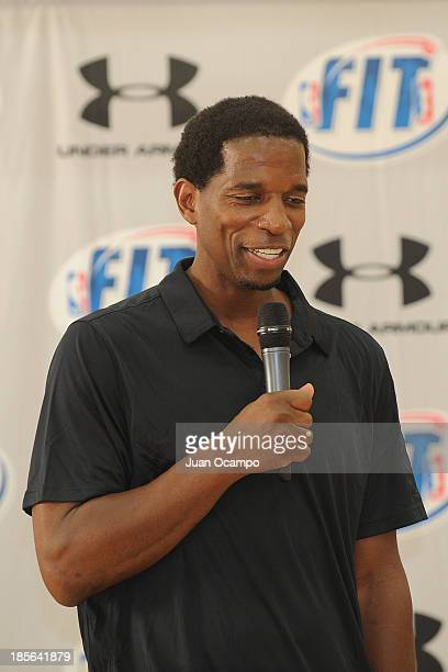 C Green participates at the Under Armour/NBA FIT Basketball Court Refurbishment Dedication Ceremony on October 21 2013 at Weingart YMCA in Los...