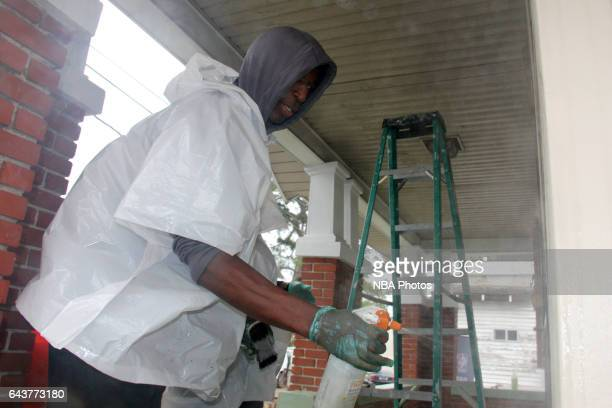 C Green participates during the NBA Cares Day of Service as part of 2017 AllStar Weekend at the KaBOOM Rebuilding Together at William Heart School on...