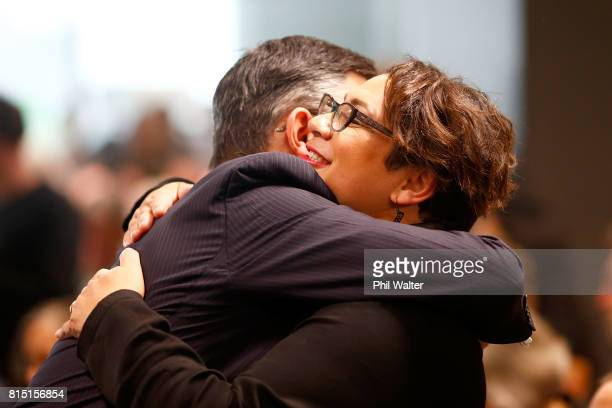 Green Party coleader James Shaw hugs Metiria Turei during the 2017 Green Party Conference at AUT Auckland during the 2017 Green Party Conference on...