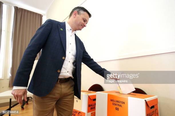 Green Party coleader James Shaw votes at Aro Valley Community Centre on September 23 2017 in Wellington New Zealand Voters head to the polls today to...