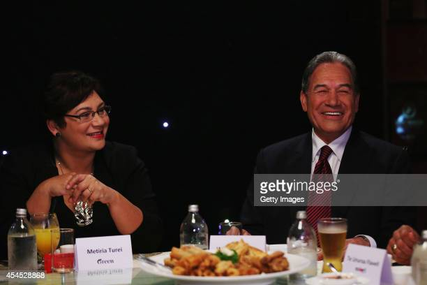 Green Party CoLeader Metiria Turei and NZ First leader Winston Peters take part in the TV3 MMP Party Leaders at a Dinner with the Deciders on...