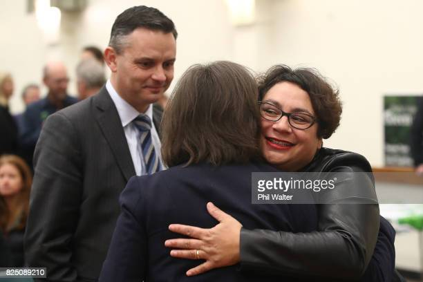Green Party coleader Metiria Turei hugs a supporter during the Green Party Auckland Election Campaign Launch on August 1 2017 in Auckland New Zealand...