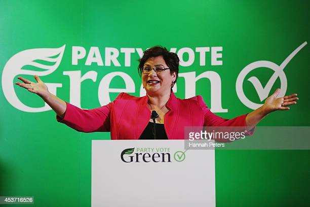 Green Party Coleader Metiria Turei speaks at Sir Paul Reeves Building on August 17 2014 in Auckland New Zealand New Zealanders will head to the polls...