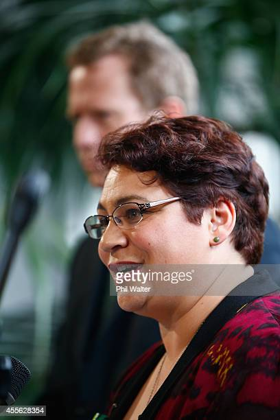 Green Party coleader Metiria Turei speaks during their election campaign event at St Kevins Arcade in Auckland on September 18 2014 in Auckland New...