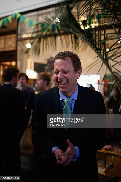 Green Party coleader Russel Norman laughs during their election campaign event at St Kevins Arcade in Auckland on September 18 2014 in Auckland New...