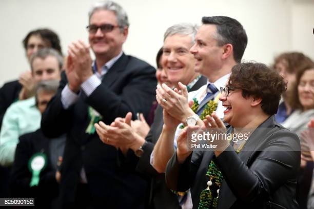 Green Party coleaders James Shaw and Metiria Turei applaud during the Green Party Auckland Election Campaign Launch on August 1 2017 in Auckland New...