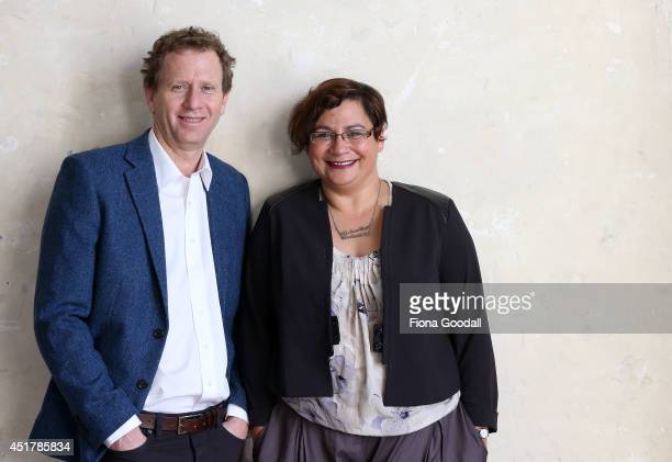 Green Party CoLeaders Russel Norman and Metiria Turei pose during a portrait session at The Generator on June 26 2014 in Auckland New Zealand