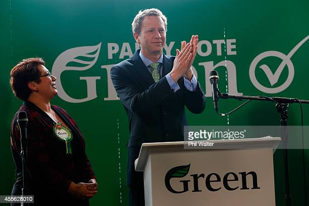 Green Party coleaders Russel Norman and Metiria Turei speak during their election campaign event at St Kevins Arcade in Auckland on September 18 2014...