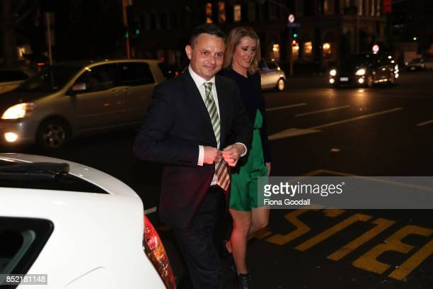 Green Party leader James Shaw arrives at St Matthews in the City on September 23 2017 in Auckland New Zealand Voters head to the polls today to elect...