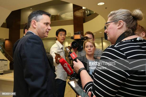 Green Party leader James Shaw is approached by media as coalition decision meetings continue at Parliament on October 13 2017 in Wellington New...