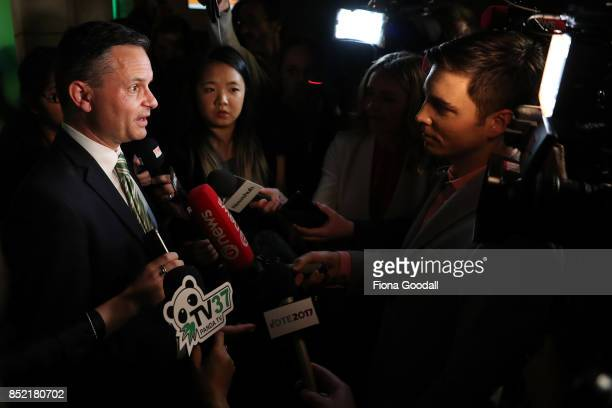 Green Party Leader James Shaw speaks to media at St Matthews in the City on September 23 2017 in Auckland New Zealand Voters head to the polls today...