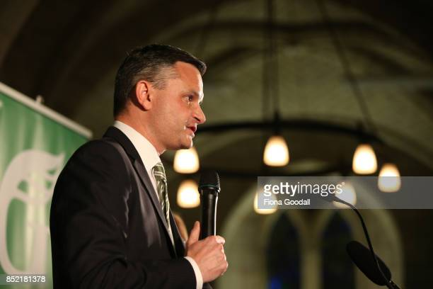 Green Party leader James Shaw speaks to supporters at St Matthews in the City on September 23 2017 in Auckland New Zealand Voters head to the polls...