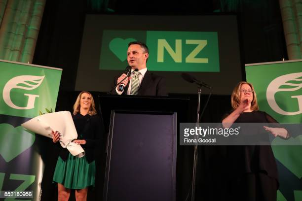 Green Party leader James Shaw speaks to supporters on September 23 2017 in Auckland New Zealand Voters head to the polls today to elect the 52nd...