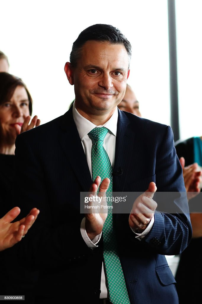 Green Party Leader James Shaw thanks his party members at the relaunch of the Greens Party on August 13, 2017 in Auckland, New Zealand. The Greens Party have relaunched their party with a new slogan 'Love New Zealand'.