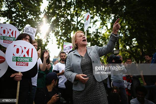 Green Party leader Natalie Bennett is seen outside the Houses of Parliament after the Chancellor of the Exchequer George Osborne delivered his Budget...
