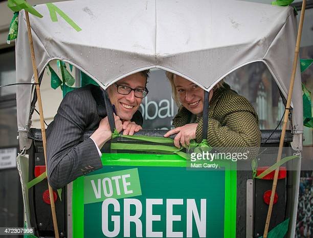 Green Party leader Natalie Bennett poses for a photograph in a bicycle rickshaw as she joins Green candidate for Bristol West Darren Hall for a final...