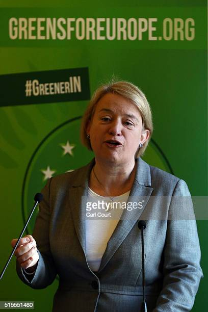 Green Party leader Natalie Bennett speaks at the launch of her party's EU campaign on March 14 2016 in London England The Green Party today announced...