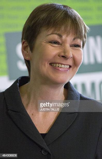 Green Party member of parliament Caroline Lucas speaks during a press conference to launch the party's election campaign in London on February 24...