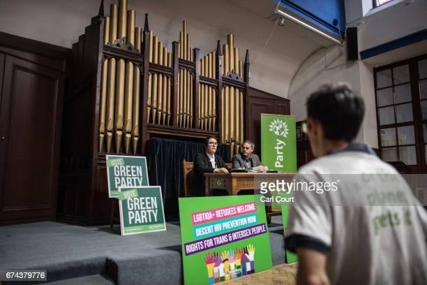 Green Party members and supporters listen as party coleader Jonathan Bartley and LGBTIQA spokesperson Aimee Challenor set out the party's commitment...