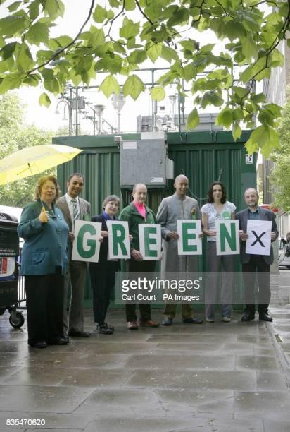Green Party MEP Jean Lambert with Green Party candidates Shasha Khan Ute Michel John Hunt Shahrar Ali Caroline Allen and Joseph Healy attending the...
