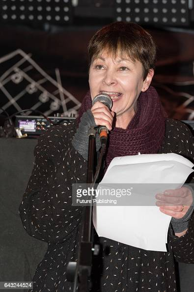 Green Party MP Caroline Lucas addresses thousands in Stop Trump Rally at Parliament Square on February 20 2017 in London England The protest...