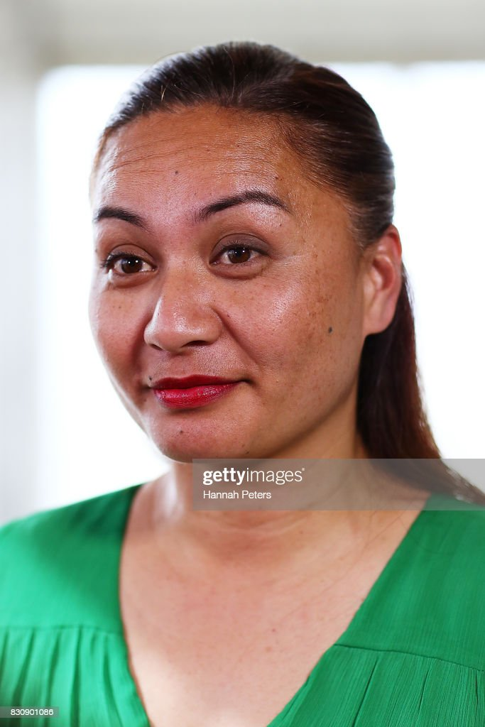 Green Party MP Marama Davidson is interviewed at the relaunch of the Greens Party on August 13, 2017 in Auckland, New Zealand. The Greens Party have relaunched their party with a new slogan 'Love New Zealand'.