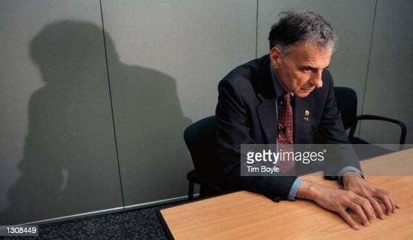 Green Party presidential candidate Ralph Nader prepares for an interview October 10 2000 at Chicago''s O''Hare International Airport