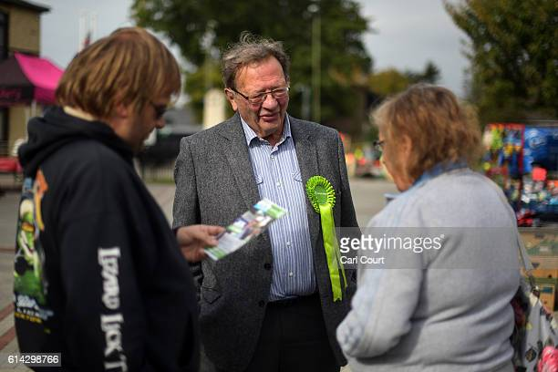Green Party prospective parliamentary candidate Larry Sanders who is the brother of former US Democrat presidential nominee Bernie Sanders chats with...