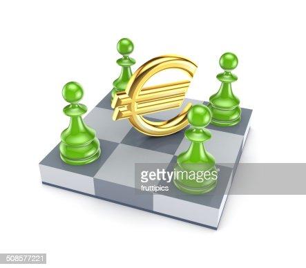 Green pawns um euro-Zeichen. : Stock-Foto